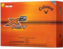 Callaway X2 Hot Yellow Logo Printed Golf Balls | Best4Balls
