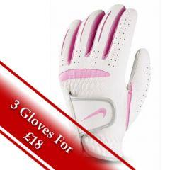 Nike Ladies Dura Feel Golf Glove in White/Pink | Best4Balls