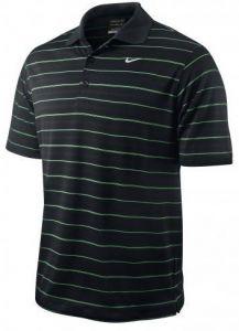 Nike Dri-Fit Tech Stripe Polo Golf Shirt - Black/Green
