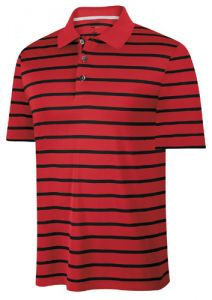 Adidas ClimaCool Stripe Golf Shirt - Red/Black