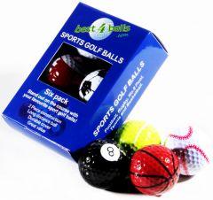 Mixed Pack Novelty Golf Balls - Sports Balls - 6 Pack | Best4Balls