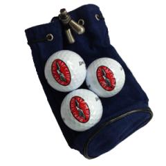 Blue Drawstring Logo Golf Pouch | Best4Balls