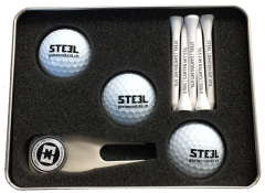 Three Golf Ball Gift Set Personalised with Tees & Pitch Fork | Best4Balls