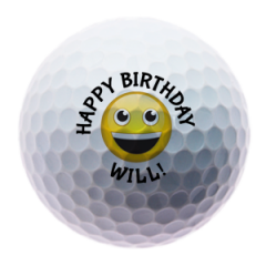 Personalised Smiley Face Happy Birthday golf balls | Best4Balls
