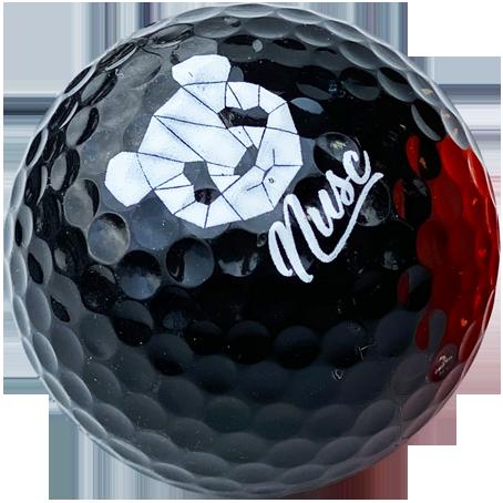 Black logo golf balls