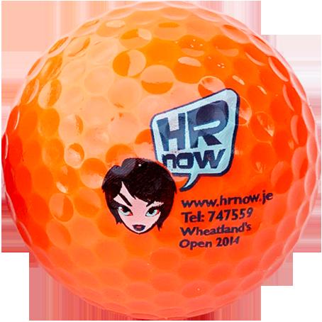orange logo golf balls